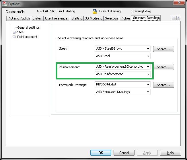AutoCAD Structural Detailing - настройки по подразбиране